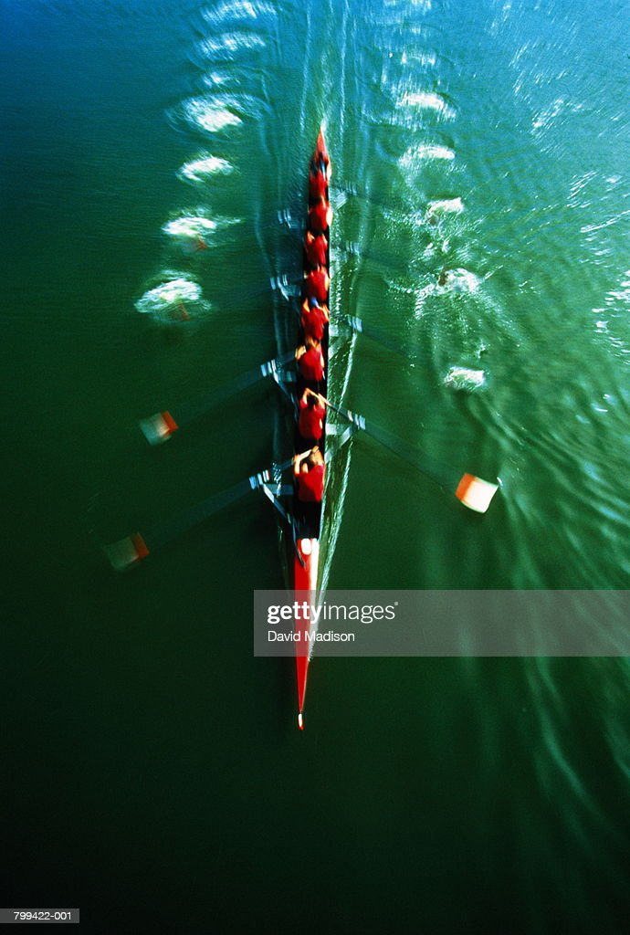Rowing team, elevated view (blurred motion) : Stock Photo