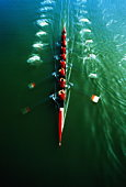 Rowing team, elevated view (blurred motion)