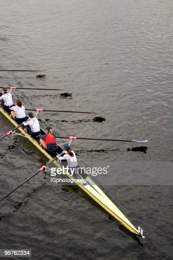 Rowing Team Rowing on Charles River in Boston