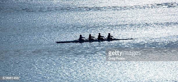 Rowing team sculling