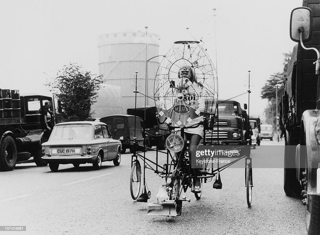 Rowland Emett And His Invention The Lunacycle In London On June 1970