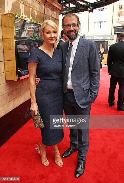 K Rowling and Dr Neil Murray attend the press preview of 'Harry Potter The Cursed Child' at The Palace Theatre on July 30 2016 in London England