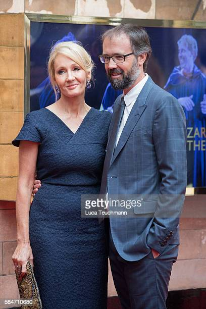 K Rowling and Dr Neil Murray attends the press preview of 'Harry Potter The Cursed Child' at Palace Theatre on July 30 2016 in London England
