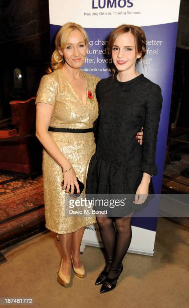 K Rowling and Emma Watson attend the Lumos fundraising event hosted by JK Rowling at The Warner Bros Harry Potter Tour on November 9 2013 in London...