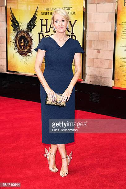 J K Rowling attends the press preview of 'Harry Potter The Cursed Child' at Palace Theatre on July 30 2016 in London England