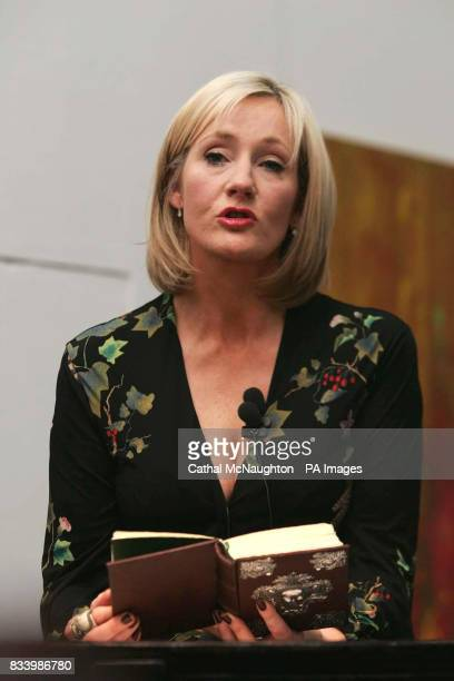 JK Rowling reads extracts from her book 'The Tales of Beedle the Bard' which is to be auctioned in Sotheby's on Thursday 13 December to raise funds...