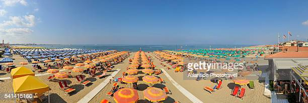 Rows of beach umbrellas, Viareggio, Italy