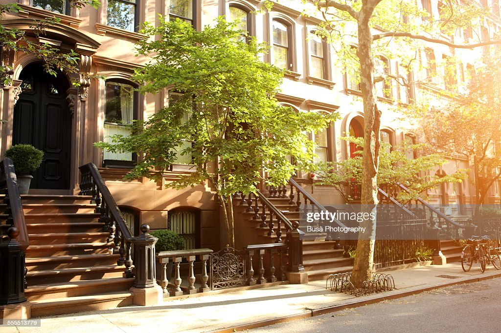 Rows of beautiful brownstones in New York City : Photo