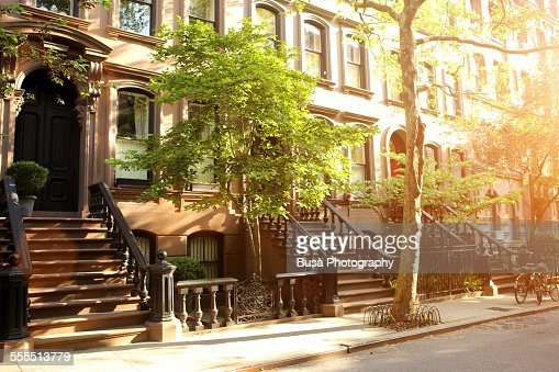 Rows of beautiful brownstones in New York City