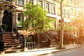 Rows of beautiful brownstones in New York City