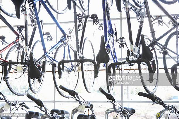 Rows of bicycles in bicycle shop