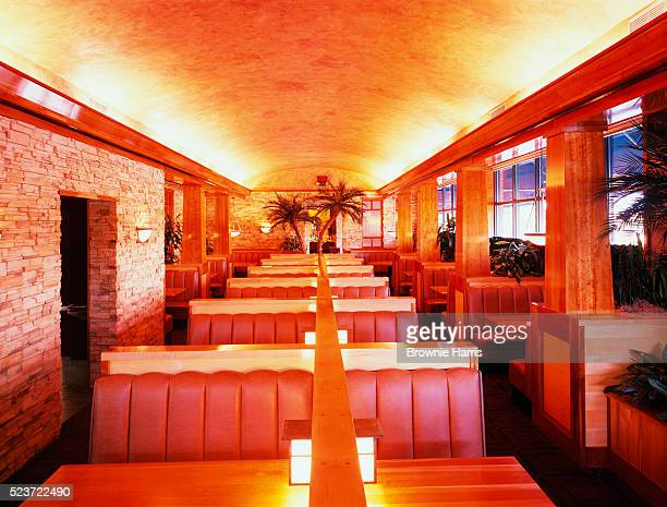 Rows of Booths in Restaurant