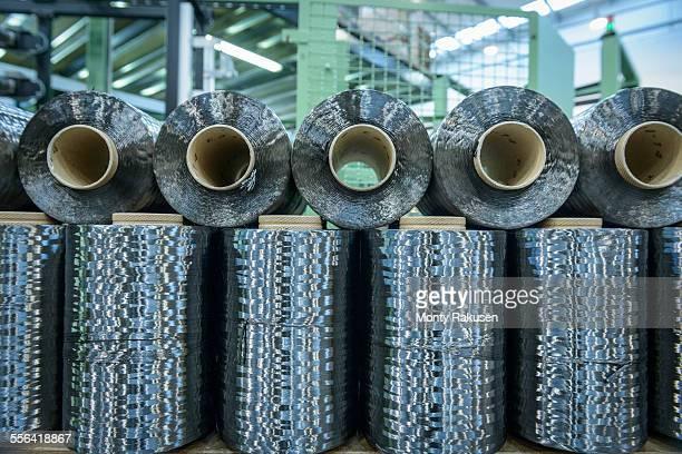 Rows of carbon fibre in carbon fibre factory