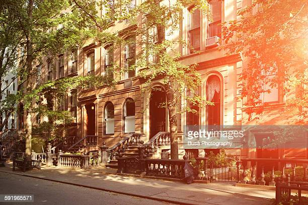 Rows of elegant brownstones in the West Village