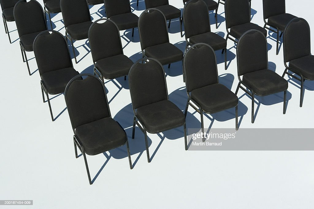Rows of empty chairs, elevated view