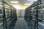 FAIRBANKS ALASKA - AUGUST 12, 2018: Rows of empty shelves for DVD rental movies at a going out of business Blockbuster Video store. This is one of the last remaining stores in the United States