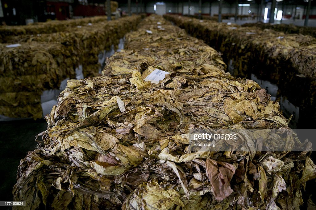 Rows of flue-cured tobacco bales sit on display following an auction at the Old Belt Tobacco Sales warehouse in Rural Hall, North Carolina, U.S., on Tuesday, Aug. 20, 2013. President Barack Obama's proposal in April to raise federal excise taxes on cigarettes by about 93%, to $1.95 a pack, is not likely to gain political support, due in part to weak consumer spending amid sluggish wage growth in recent years. Photographer: Andrew Harrer/Bloomberg via Getty Images