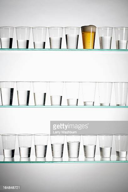 Rows of glasses with varying amounts of water and one filled with beer