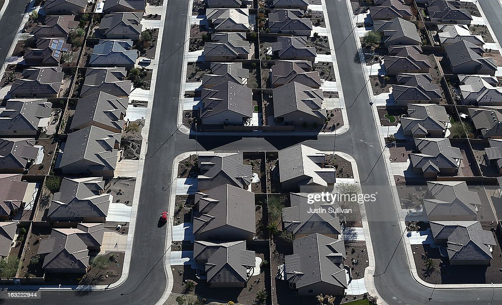 Rows of homes stand at a housing development on March 6, 2013 in Mesa, Arizona. In 2008, Phoenix, Arizona was at the forefront of the U.S. housing crisis with home prices falling 55 percent between 2005 and 2011 leaving many developers to abandon development projects. Phoenix is now undergoing a housing boom as sale prices have surged 22.9 percent, the highest price increase in the nation, and homebuilders are scrambling to buy up land.