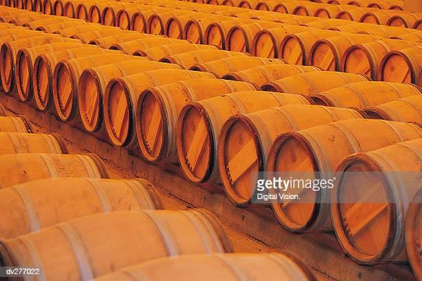 Rows of kegs