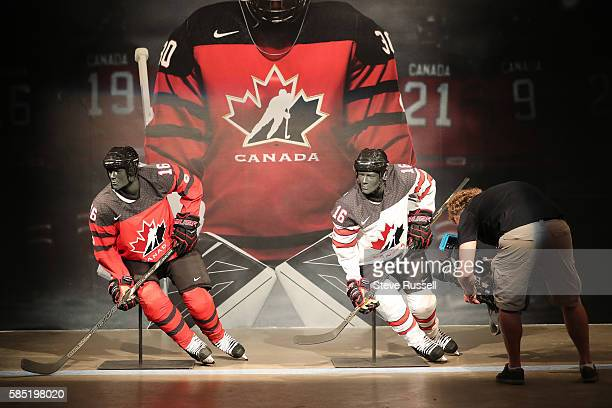 TORONTO ON AUGUST 2 Rows of Maple Leaf icons fill the jersey's shoulder caps The jersey also sports the Canada 150 logo The Jersey is made with...