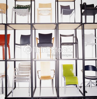 Rows Of Modern Chairs On Display In Furniture Store Stock Photo ...