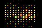 Rows of multi colored spotlights arranged in heart shape