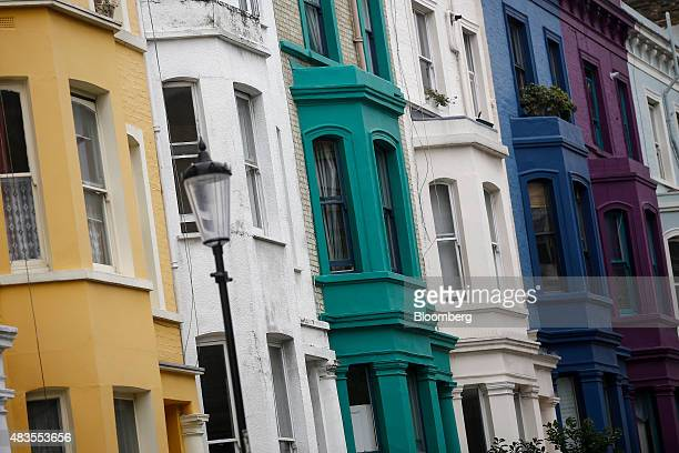 Rows of multicolored residential properties stand in the Kensington and Chelsea district of London UK on Monday Aug 10 2015 Buytolet loans have made...