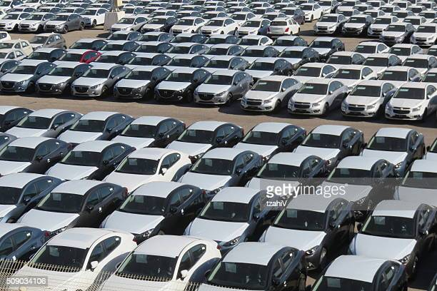Rows of new cars covered in protective white sheet