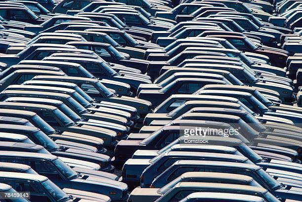 Rows of parked cars