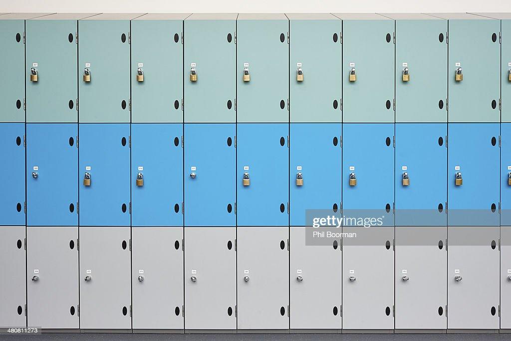 Rows of school lockers with doors closed