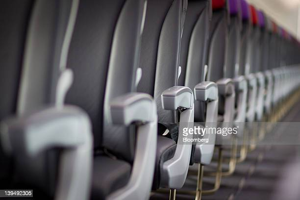 Rows of seats are seen in a Virgin Australia Holdings Ltd Boeing 737800 aircraft at the domestic terminal of Sydney airport in Sydney Australia on...