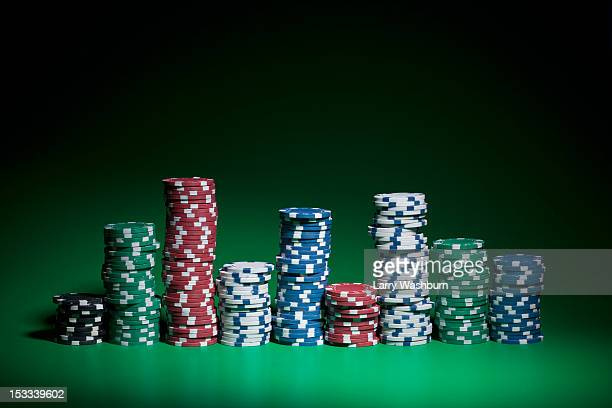 Rows of stacked gambling chips