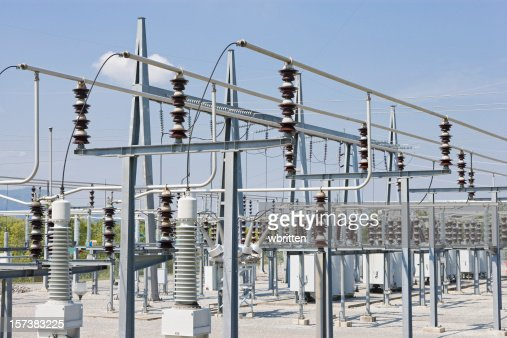 Rows of structures in an outdoor power plant