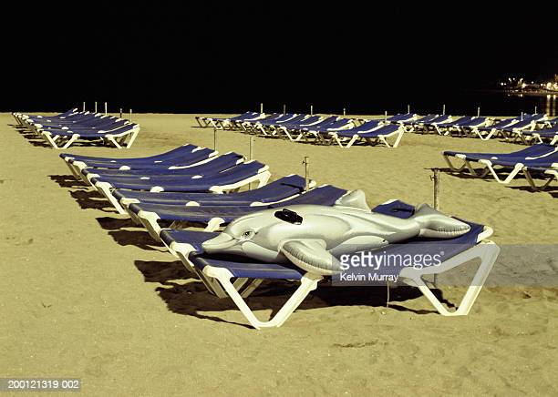 Rows of sun loungers on beach, inflatable dolphin on one, night