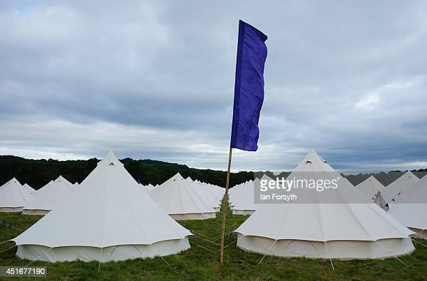 Rows of tents have been erected in the grounds of Harewood House in Yorkshire in preparation for visitors for the start of the Yorkshire stages of...