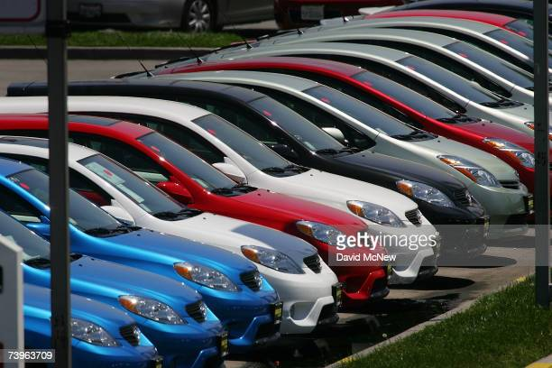Rows of Toyotas are parked in a line at the world's largest auto dealership Longo Toyota which enjoys continued strong sales after a record quarterly...