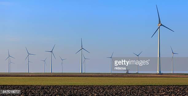 Rows of wind turbines, Eemshaven, Groningen, Netherlands