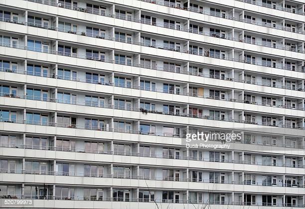 Rows of windows of GDR building in East Berlin
