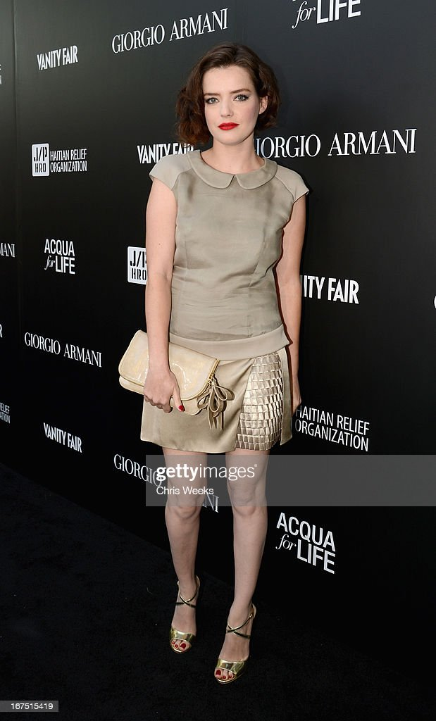 Roxane Mesquida attends Giorgio Armani Paris Photo LA Acqua #3 at Paramount Studios on April 25, 2013 in Los Angeles, California.