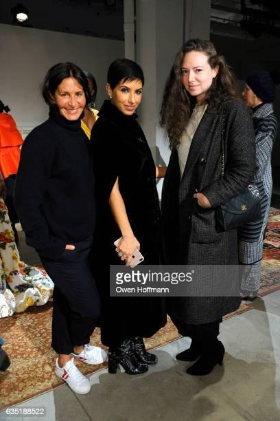 Roxanne Assoulin Deena Abdulaziz and Chloe Hartstein attend the Rosie Assoulin Presentation during New York Fashion Week at Skylight Clarkson Sq on...