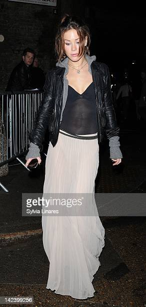 Roxanne McKee leaves The Bankside Vaults also known as Pulse on April 3 2012 in London England Around 450 guests including a number of celebrities...