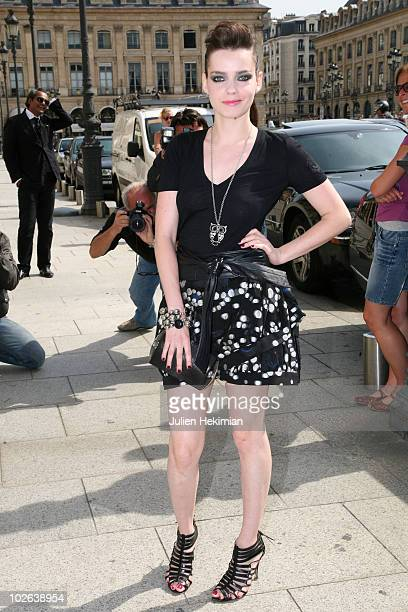 Roxanne Mesquida arrives at the Giorgio Armani Prive show as part of the Paris Haute Couture Fashion Week Fall/Winter 2011 Espace Vendome on July 6...