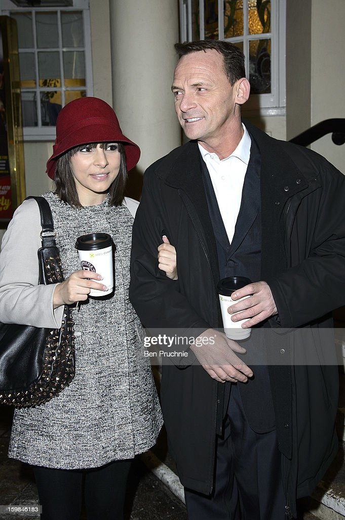 Roxanne Pallett and Perry Fenwick attends the opening night of The Rocky Horror Picture Show at New Wimbledon Theatre on January 21, 2013 in Wimbledon, England.