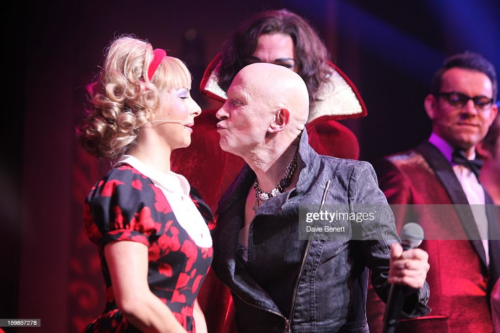 Roxanne Pallett and Richard O'Brien perform on stage during a production of Richard O'Brien's Rocky Horror Show at the New Wimbledon Theatre on January 21st, 2013 in London, United Kingdom.