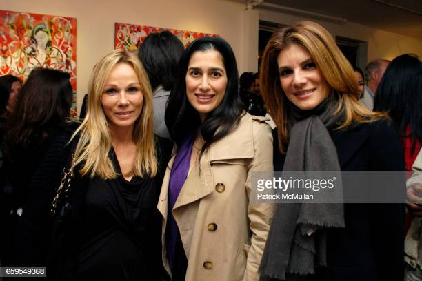 Roxanne Taylor Nazgol Jahan and Patricia Suarez attend ROYA AKHAVAN NEXUS OPENING EXHIBITION at LTMH Gallery on October 14 2009 in New York City