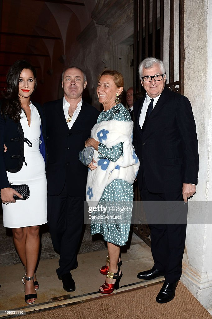 Roxie Nafousi, Damien Hirst, Miuccia Prada and Patrizio Bertelli attend the Dinner At 'Fondazione Cini, Isola Di San Giorgio' during the 2013 Venice Biennale on May 29, 2013 in Venice, Italy.