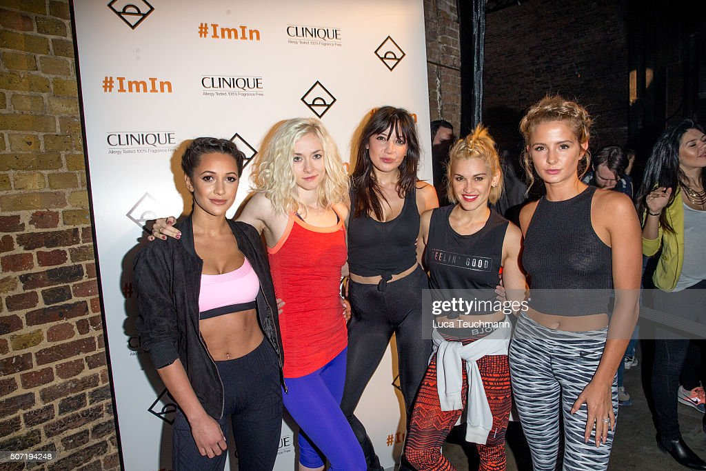 Roxie Nafousi Portia Freeman Daisy Lowe Ashley Roberts and Roxie Nafousi attend Photocall for Clinique Daybreaker Dance Party at The Village...