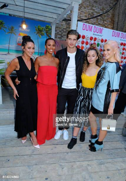 Roxie Nafousi Rochelle Humes Toby HuntingtonWhiteley Ella Eyre and Pixie Lott pictured at the VIP launch of Just Eat Food Fest Desert Island Dishes...