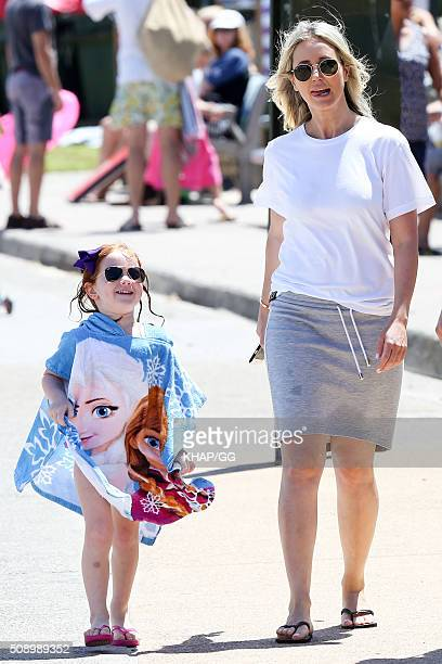 Roxy Jacenko and daughter Pixie Curtis enjoy beach time on February 7 2016 in Sydney Australia